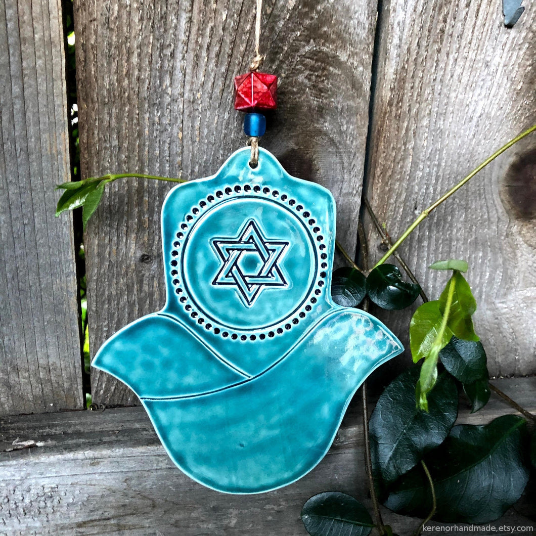 Hamsa hand home blessing, hamsa wall decor, protection amulet, magen david, star of David pendant, Jewish home decor, Jewish Mothers Day