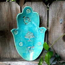 Load image into Gallery viewer, Ceramic turquoise Hamsa Bowl, hamsa hand bowl, Tree of life decor, hamsa bowl, Blue Khamsa bowl, Khamsa fruit dish, Khamsa serving tray