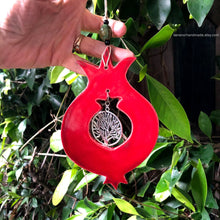 Load image into Gallery viewer, Ceramic pomegranate, pomegranate wall  decor, Tree of life charm, prosperity charm, Abundance charm, Jewish symbol, fertility charm,
