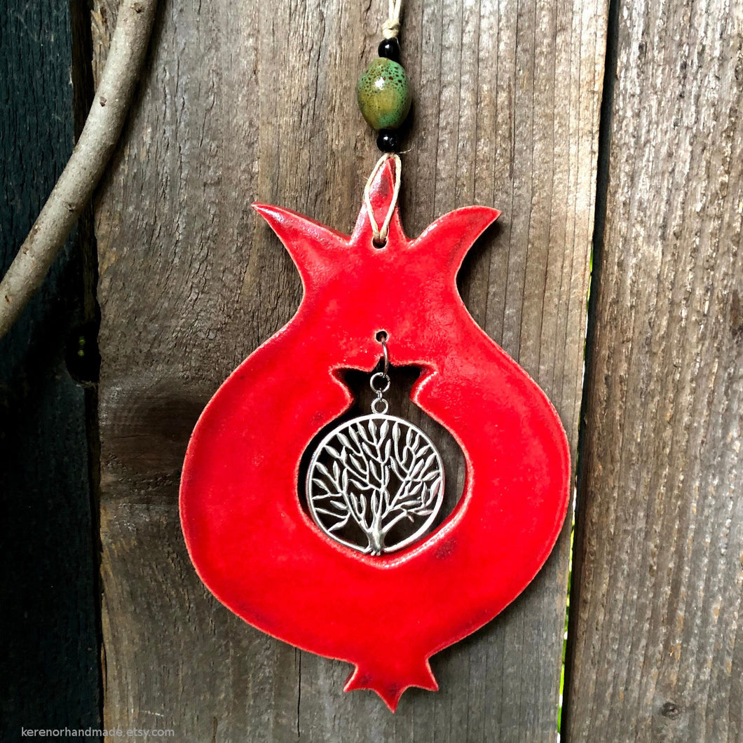 Ceramic pomegranate, pomegranate wall  decor, Tree of life charm, prosperity charm, Abundance charm, Jewish symbol, fertility charm,