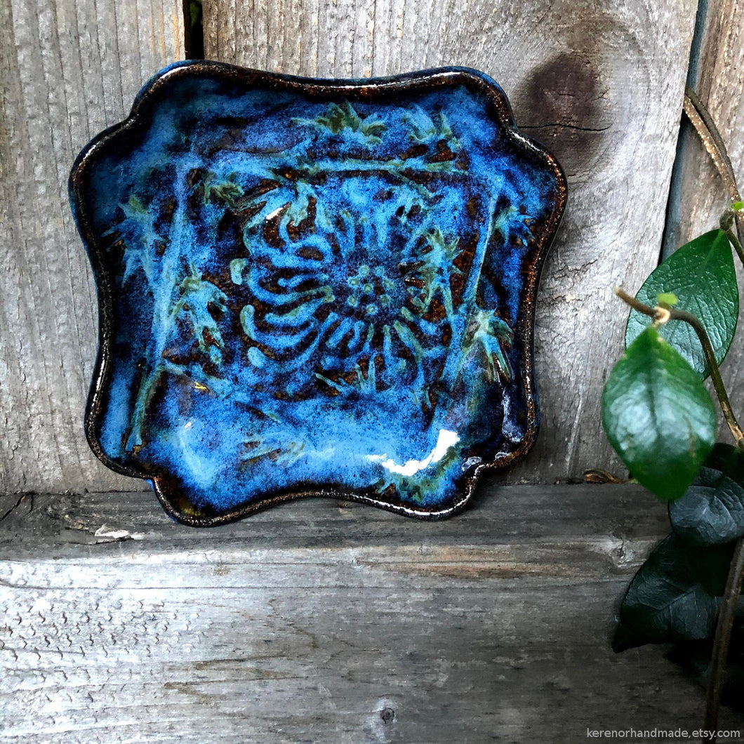 Ceramic Ring dish, Blue clay jewelry dish, fruit dish, spoon rest, Teabag holder, trinket dish, tealight holder, serving dish, housewarming