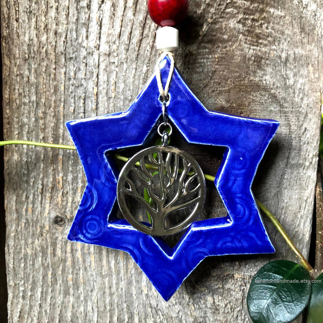 Star Of David wall art, ceramic Star of David, Magen David, Star of David ornament, Tree of life, Jewish house warming gift, housewarming