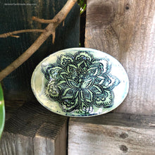 Load image into Gallery viewer, Ceramic ring dish, handmade ring dish, green themed dish, little oval dish, Fathers day gift, guest soap dish, tealight holder, bridal gift