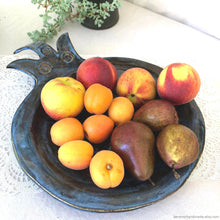 Load image into Gallery viewer, Ceramic serving bowl, handmade ceramic bowl, ceramic fruit bowl, ceramic tableware, wedding gift, housewarming gift, pomegranate plate