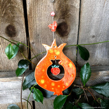 Load image into Gallery viewer, Ceramic pomegranate ,pomegranate wall decor, abundance decor, prosperity charm, Mediterranean decor, housewarming gift, fertility charm,