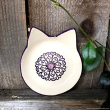 Load image into Gallery viewer, Ceramic cat shaped dish, cat shaped ring dish, cat lover gift, cat decor, color pop dish, teabag holder, tealight holder, graduation gift