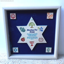 Load image into Gallery viewer, House blessing, Jewish blessing for home, Framed ceramic house blessing, Ceramic Magen David home blessing, housewarming gift, Star of David