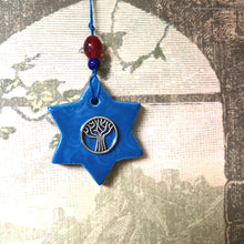 Load image into Gallery viewer, Star of David ceramic charm clay Jewish star Magen David charm tree of life charm car charms rear view mirror accessories bridesmaid gift