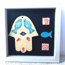 Load image into Gallery viewer, Hamsa house blessing, Framed ceramic khamsa, Ceramic hamsa hand home blessing, evil eye protection, evil eye charm, Jewish housewarming gift
