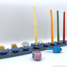 Load image into Gallery viewer, porcelain menorah handmade hanukkah menorah chanukah Judaica Jewish menorah blue magen David Star of David Jewish wedding gift housewarming