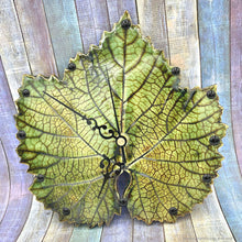 Load image into Gallery viewer, ceramic wall clock grape leaf clock clock handmade ceramic large wall clock grape leaf ceramic handmade kitchen clock housewarming gift