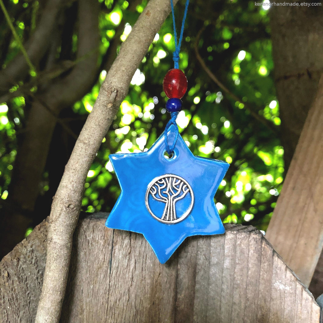Star of David ceramic charm clay Jewish star Magen David charm tree of life charm car charms rear view mirror accessories bridesmaid gift