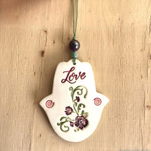Load image into Gallery viewer, handmade ceramic hamsa protection amulet khamsa protection talisman rear view mirror car accessories charm hand of Fatima bridesmaid gift