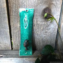 Load image into Gallery viewer, handmade mezuzah case Jewish wedding gift handmade clay mezuzah cover green mezuzah case sitting perched bird Jewish mezuza cover gift