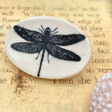 Load image into Gallery viewer, ceramic dragonfly brooch, porcelain dragonfly pin, handmade dragonfly jewelry, oval dragonfly brooch, dragonfly lapel pin, dragonfly pin