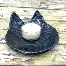 Load image into Gallery viewer, handmade ceramic night stand jewelry dish ceramic vanity ring dish cat face dish teabag holder teaspoon rest ceramic tealight candle holder