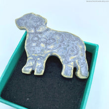 Load image into Gallery viewer, ceramic dog brooch, porcelain dog pin, handmade dog jewelry, animal brooch, dog lovers gift, jewelry gift dog lovers, golden retriever pin