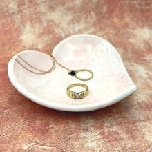 Load image into Gallery viewer, handmade ceramic jewelry dish ceramic vanity night stand handmade heart shaped ring dish teabag holder tealight candle holder clay soap dish