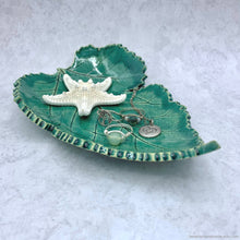 Load image into Gallery viewer, poinsettia leaf ring dish, ceramic soap leaf dish, handmade ring dish, green leaf dish soap dish, clay jewelry dish, tealight candle holder