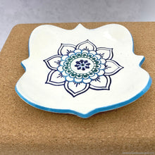Load image into Gallery viewer, ceramic mandala dish, ceramic jewelry dish, yoga mandala dish, yoga inspired soap dish, ceramic meditation tealight holder, night table dish