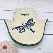 Load image into Gallery viewer, handmade hamsa ceramic jewelry dish, ceramic khamsa vanity night stand ring dish, dragonfly hamsa tealight candle holder, handmade soap dish