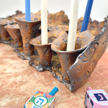 Load image into Gallery viewer, porcelain menorah handmade, ceramic menorah, chanukah Jewish menorah, Jerusalem decor, Judaica candlelighting menorah, ceramic Hanukkah gift