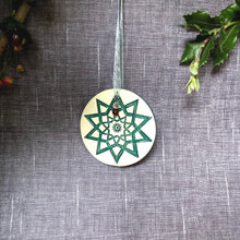 Load image into Gallery viewer, handmade ceramic snowflake ornament, green star ornament, pottery ornament handmade, Christmas tree ornament star wall plaque, handmade star