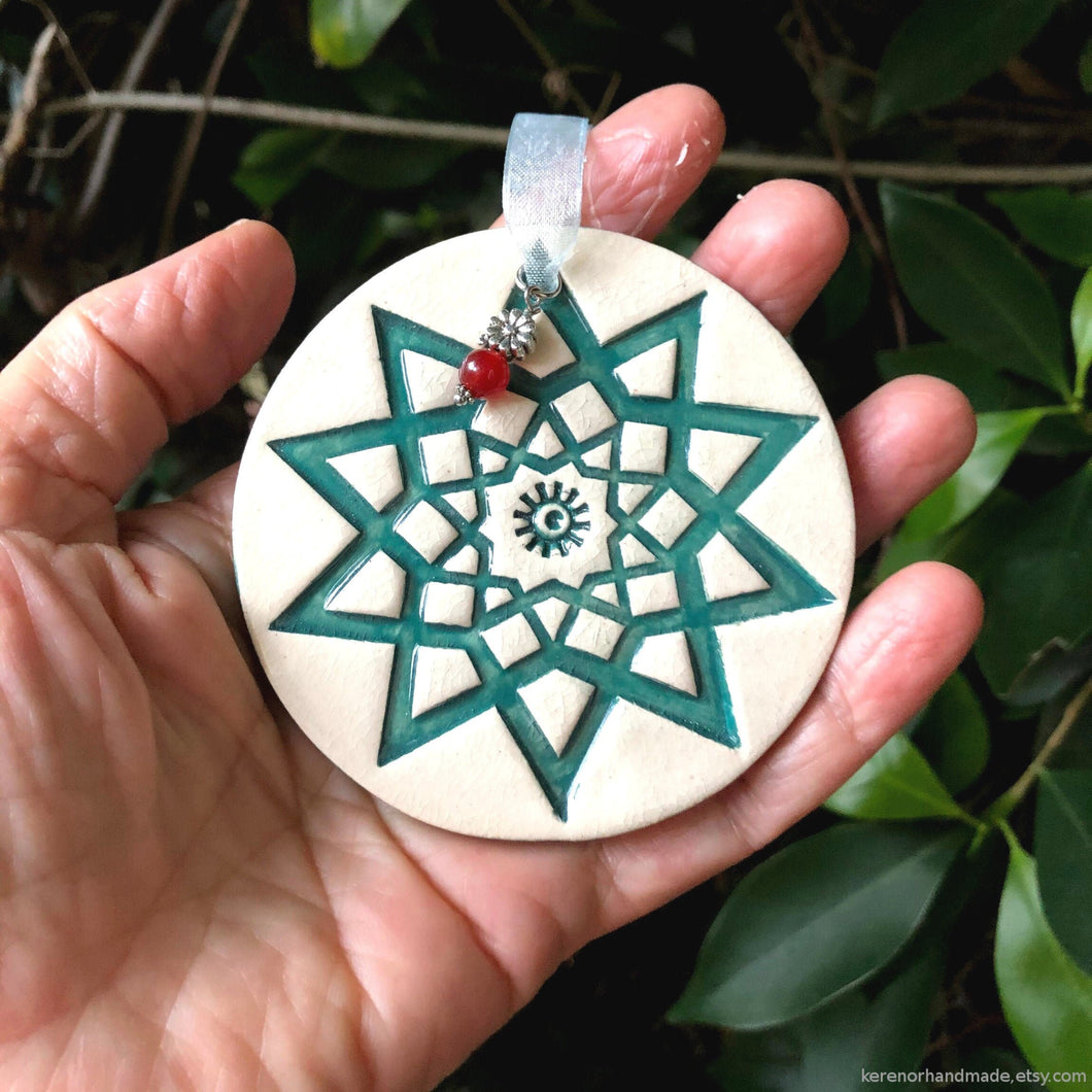 handmade ceramic snowflake ornament, green star ornament, pottery ornament handmade, Christmas tree ornament star wall plaque, handmade star