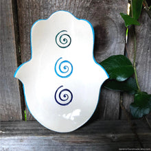 Load image into Gallery viewer, ceramic hamsa jewelry dish, hamsa spirals jewelry dish, handmade spirals decor dish, soap dish, hamsa tealight holder, khamsa protection