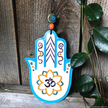 Load image into Gallery viewer, Hamsa hand om symbol wall decor, ceramic hamsa hand wall decor, protection amulet, Khamsa wall art, meditation aum symbol hamsa, yoga Khamsa