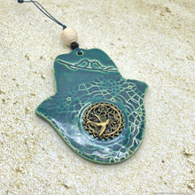 Load image into Gallery viewer, handmade ceramic hamsa hand, ceramic swallow birds hamsa, green khamsa decor, khamsa wall hanging, hamsa protection amulet, Moroccan decor
