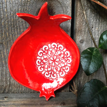 Load image into Gallery viewer, handmade pottery pomegranate dish, ceramic pomegranate bowl, ceramic pomegranate dish, abundance symbol, tealight holder, Moroccan decor