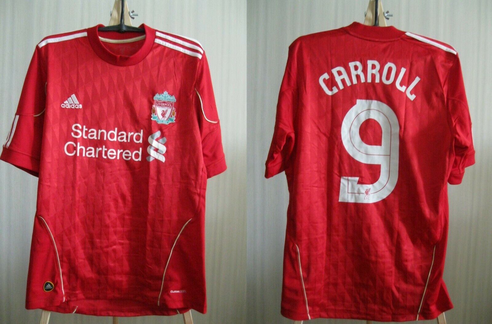 Liverpool #9 Carroll 2010/2011/2012 home Size S Adidas p96763 jersey