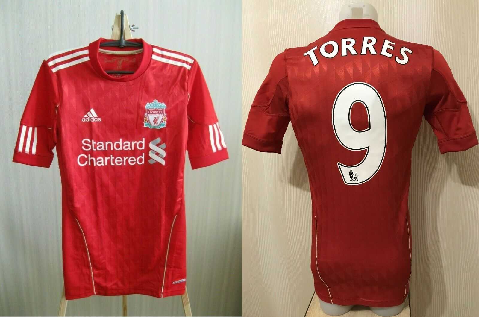 AUTHENTIC FC Liverpool #9 Torres 2010/2012 Home Size S Adidas P96751 jersey
