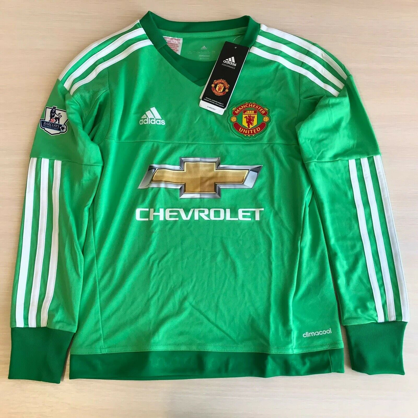 Boys Manchester United 2015/2016 Goalkeeper Size S Adidas ac1460 jersey