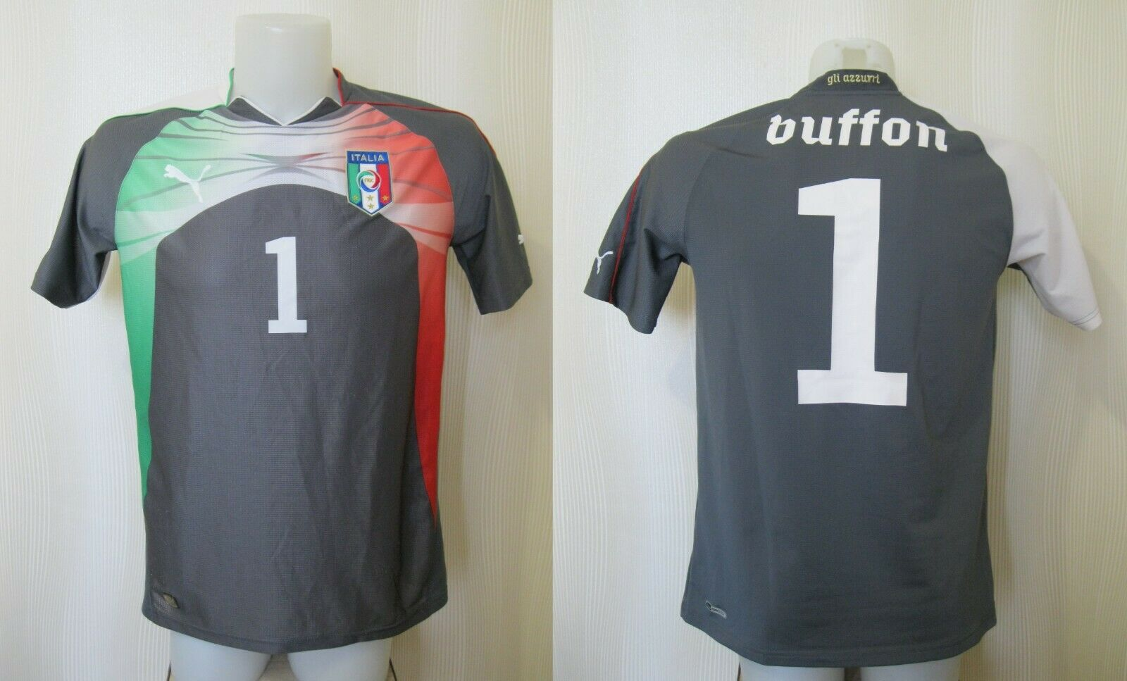 Italy national team #1 Buffon 2010/2012 Goalkeeper YXXL Puma jersey