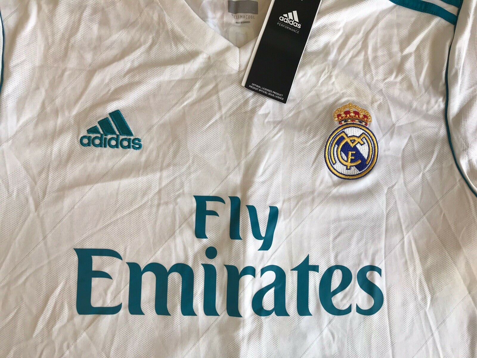 Real Madrid #8 Kroos 2017/2018 home Size L Adidas AZ8059 jersey
