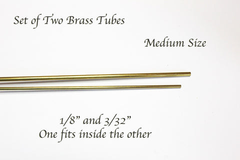 """Invisible Stand"" Brass Tubing Set of 2 - Medium: 1/8"" & 3/32"""