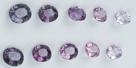 coloured gemstones in a variety of purples
