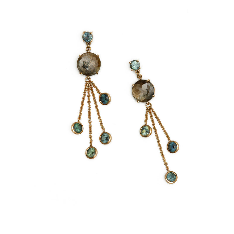 Golden Blue Swing Earrings