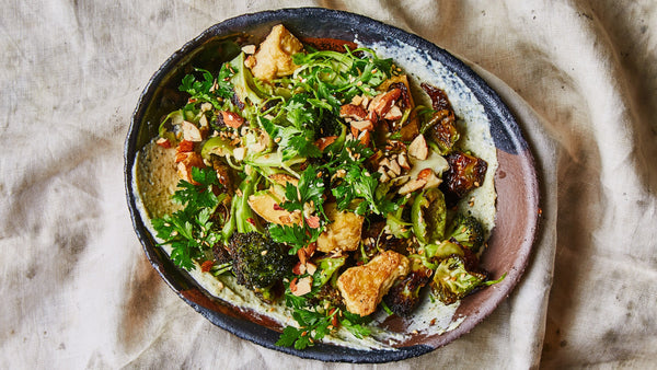 Roasted Broccoli & Tofu with creamy Miso Hemp Dressing