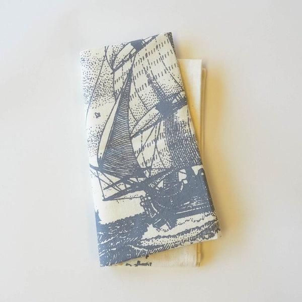 Boat People Print Tea Towel