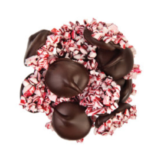 Dark Chocolate Nonpareils With Crushed Peppermint 1/2LB