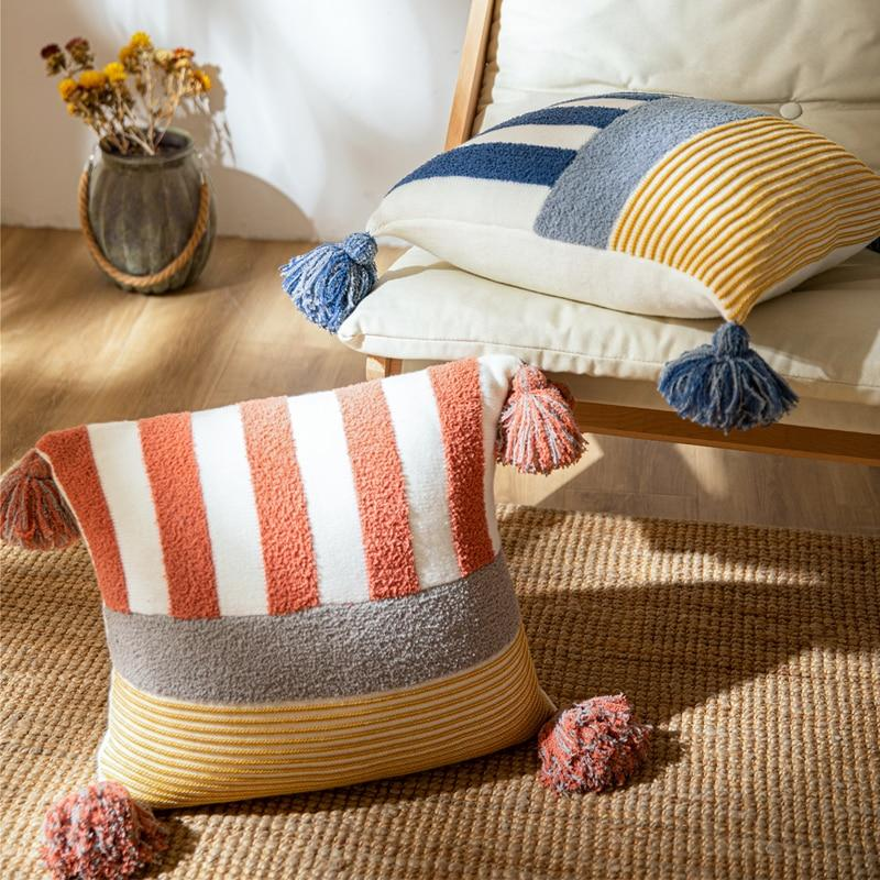 Coral Striped Cushion Cover - OikoSarri
