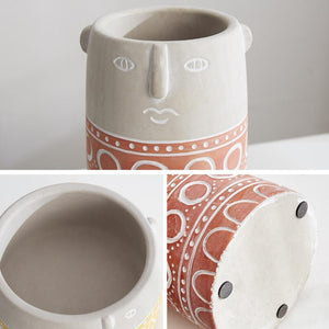 Abstract Face Ceramic Pot - Yellow - OikoSarri