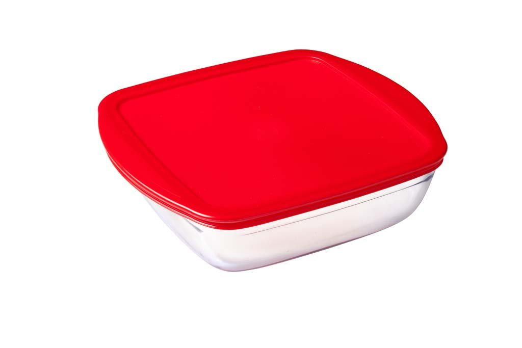 Glass Square storage dish with lid 1,5L