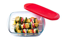 Glass Rectangular storage dish with lid 0,35L