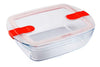 Glass Rectangular storage dish with steam valves