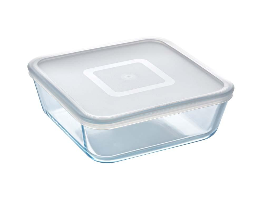 Glass Square storage dish with lid 2L