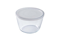Glass Round storage dish with lid 1,6L